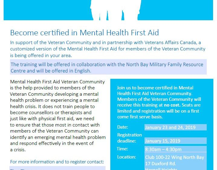Date Change Mental Health First Aid Veteran Community Mfrc North Bay