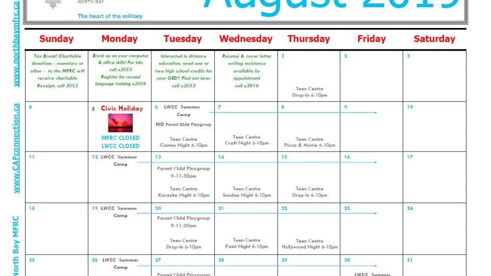 MFRC's Programs and Events Calendar for August 2019 - MFRC